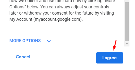 Agree on terms to create gmail account