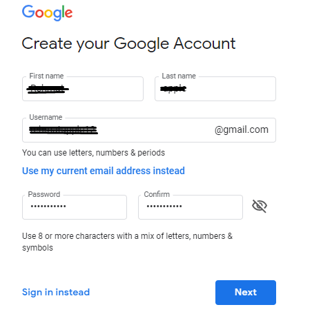 Gmail account form for apply id