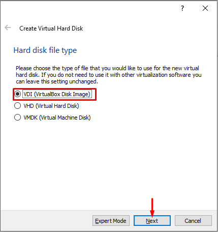 Choose Hard Disk Type