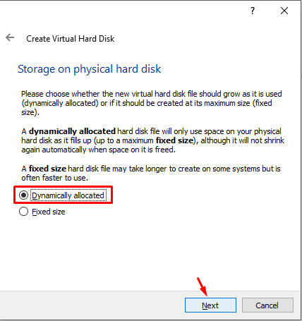 Storage On Physical hard Disk