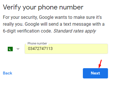 Verify Phone Number to create gmail account