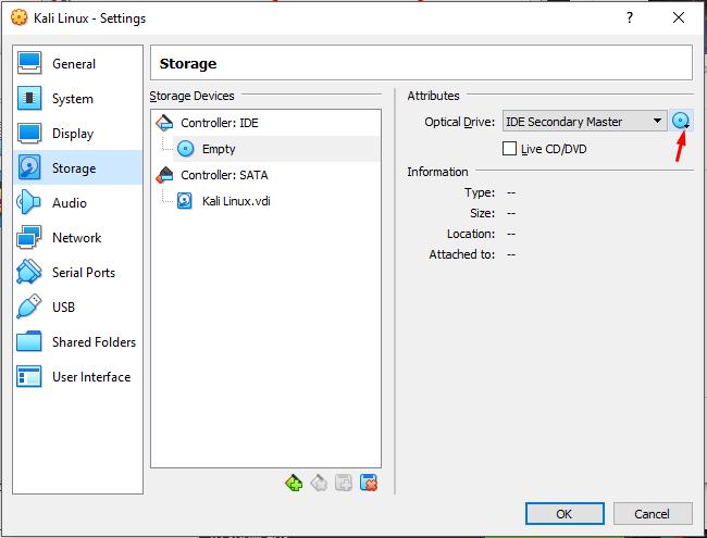 Insert kali Linux IOS File