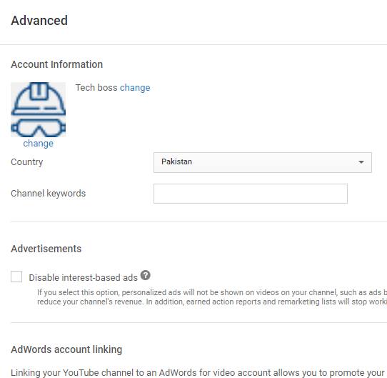 Advanced setting details