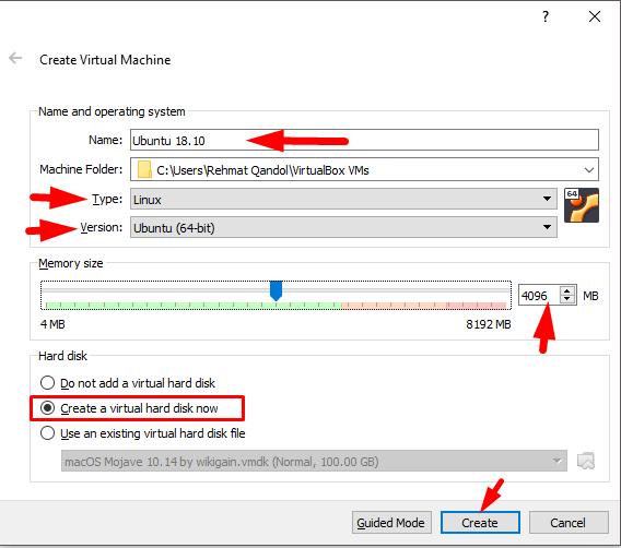 vm detail to install ubuntu