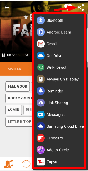 Share song with social media