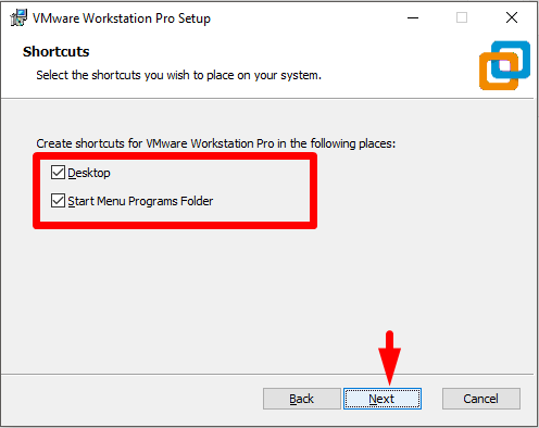 wmware Application Shortcuts preference