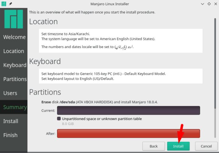 check manjaro linux summary