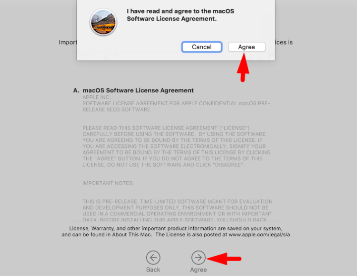 macos mojave terms and condition