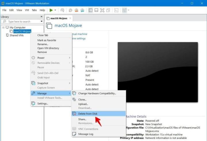 delete a virtual machine on windows