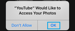 provide youtube access to your photos on iphone