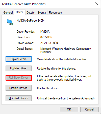 Roll Back A Drivver in Windows 10