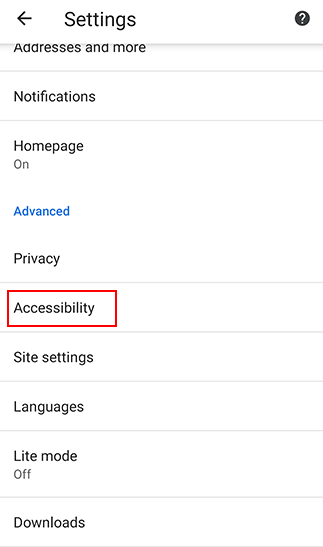 Google Chrome Built-in Accessibility