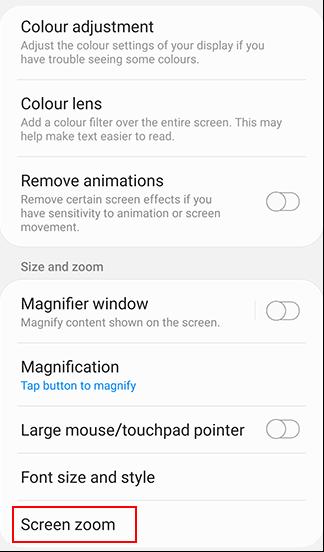 Use Screen Zoom option
