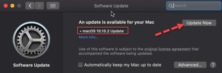 Update MacOS Catalina 10.15.2