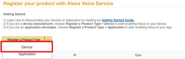 Alexa Pi - Register your Device