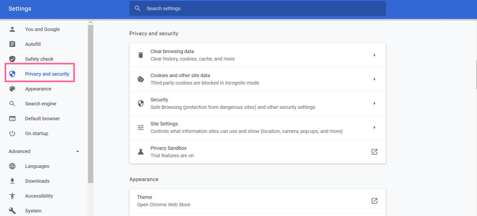 privacy and security settings google chrome