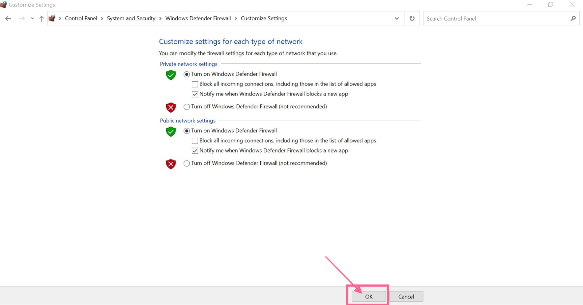 save changes windows firewall err_timed_out