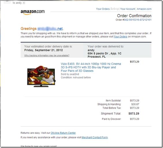 Fake Amazon.com shipping email opens Blackhole Exploit Kit Virus