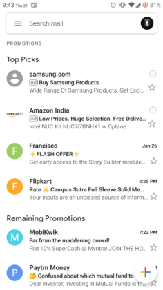 material ui, material design, material gmail app