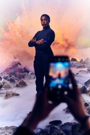 EDITORIAL USE ONLY New 00 agent Lashana Lynch is photographed with a Nokia 8.3 5G smartphone ahead of her Bond debut in No Time To Die, out this November. The 32-year old was posing as her character Nomi at Pinewood Studios ahead of the 25th James Bond film which sees the 00 agents switch to Nokia smartphones. Photo credit should read: Mikael Buck/Nokia For more information contact Kate Bailey on 07896 055 088