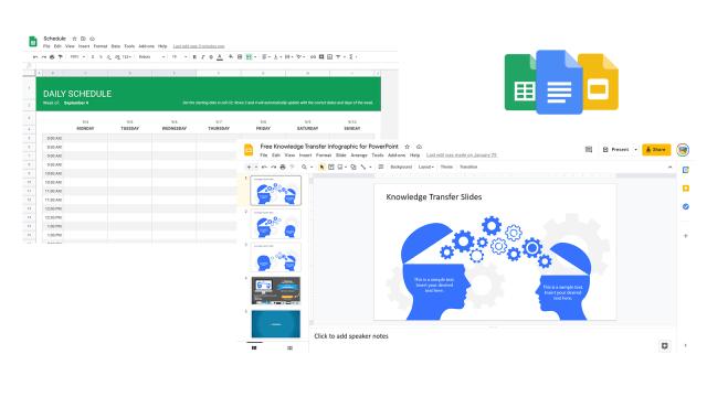 google slides sheets docs