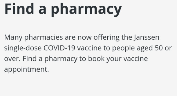 Find your nearest pharmacy to book your covid vaccine right here if you are 50 or over.