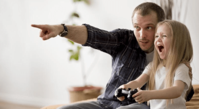 father and daughter gaming