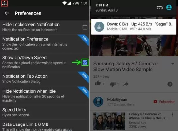 Display Internet Speed In Android's Status Bar