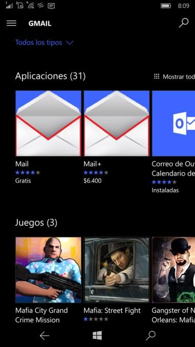 Opciones para App de Gmail