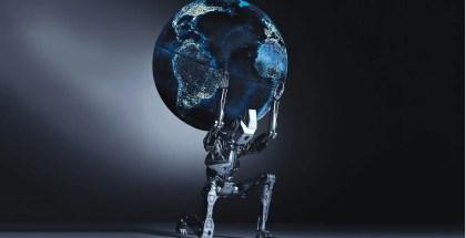 Robot inteligente cargando peso