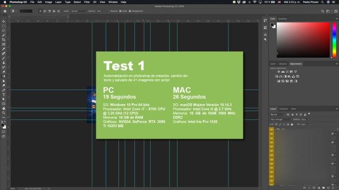Test con varios procesos en Photoshop