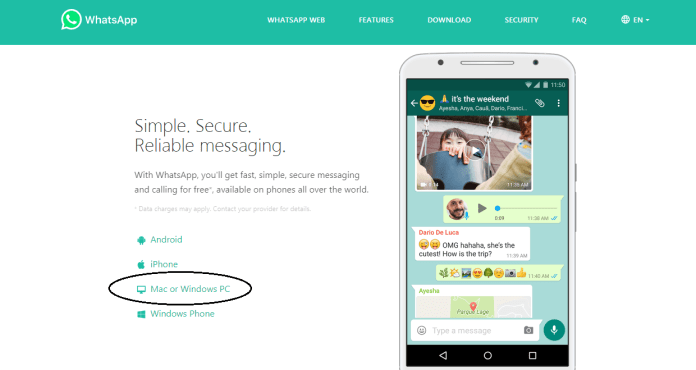 How to download Whatsapp for Windows 7 snap 1
