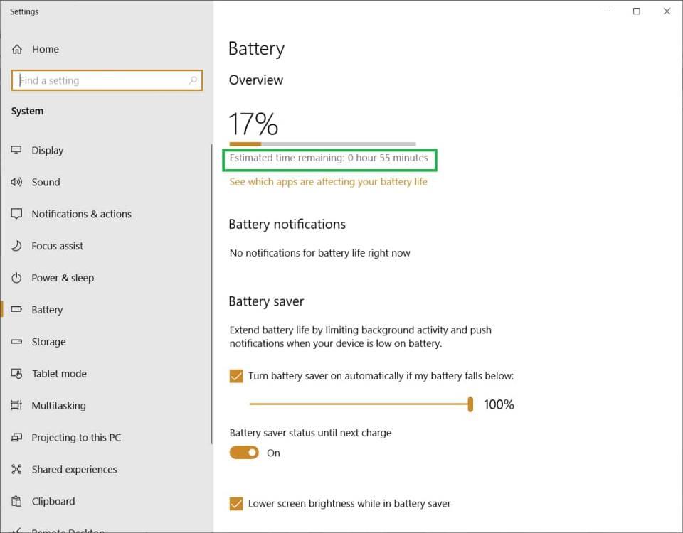 Battery Remaining Time Indicator in Battery Settings Menu