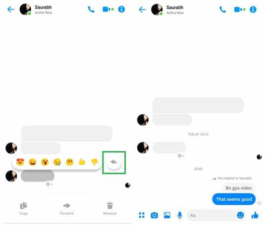 Facebook Messenger Quote and Reply feature