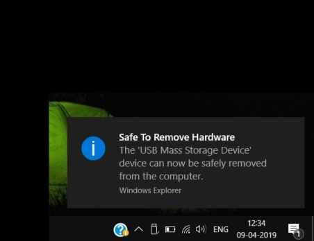 Safe to Remove Hardware Notification Windows 10