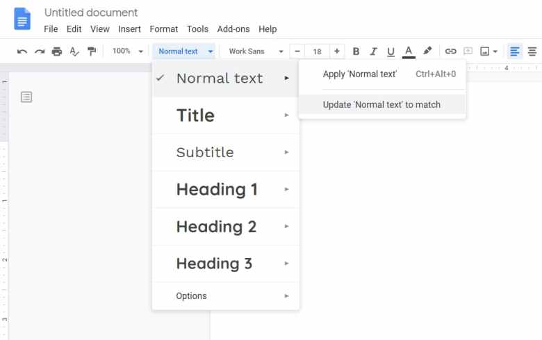 Change Google Docs Default Normal Text Font