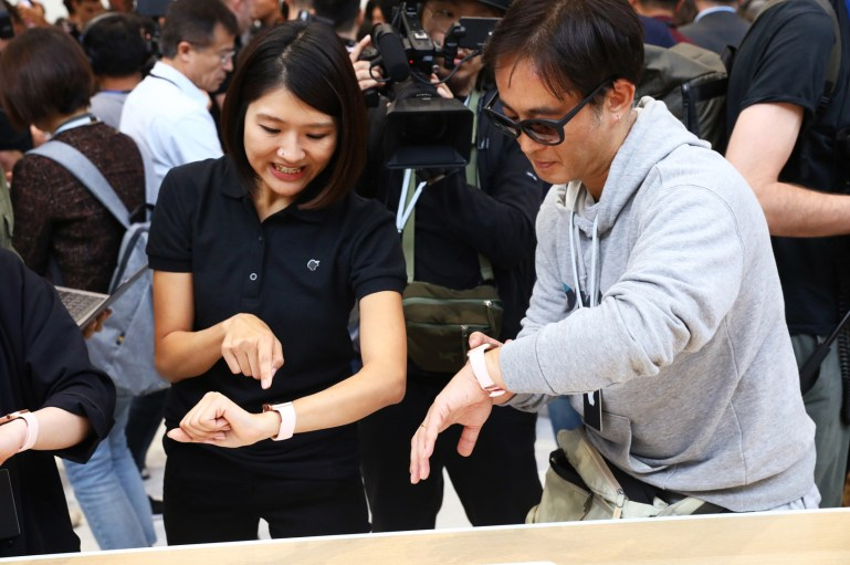 Guests try on the new Apple Watch Series 4