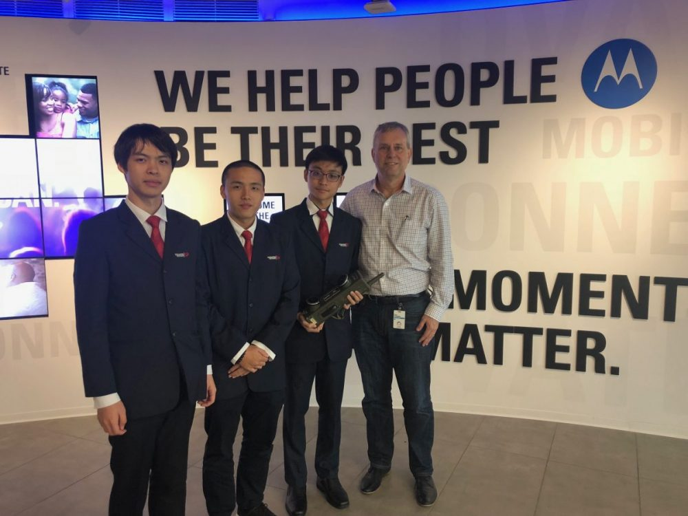 Students and hackathon winners (from left) Caeden Zhao, Francis Yeo and Jeffrey Lau