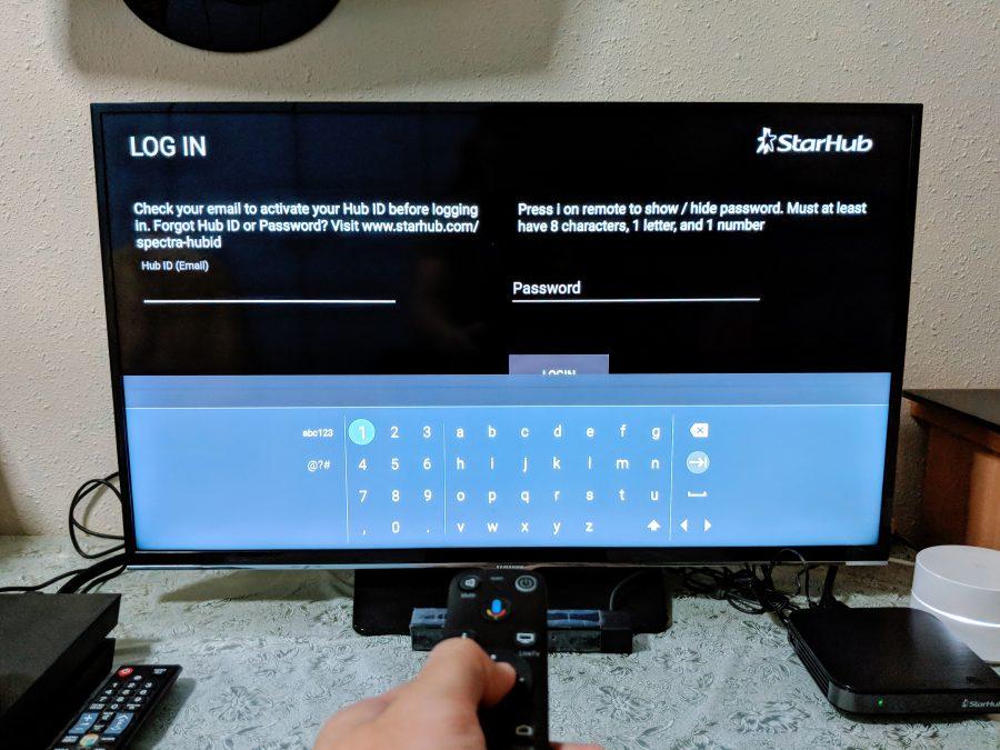 Logging into the StarHub Go Streaming Box