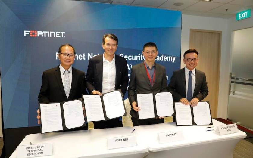 ITE and NTUC LearningHub sign a Memorandum of Collaboration with Fortinet to run cybersecurity courses in partnership with the Fortinet Network Security Academy