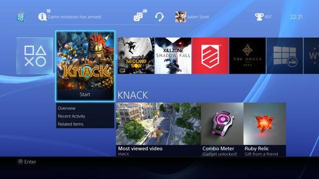 PlayStation 4 UI screenshot
