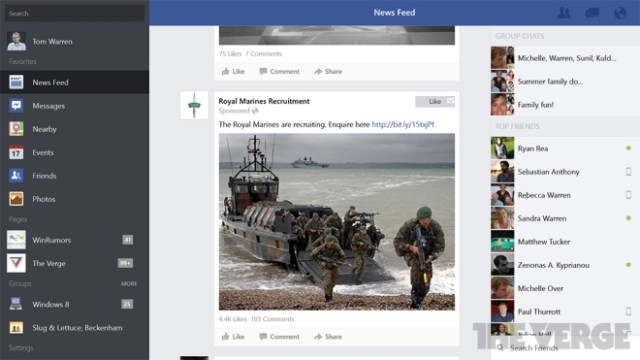 Facebook official app for Windows 8.1