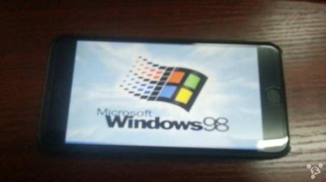 Windows 98 on iPhone 6 Plus