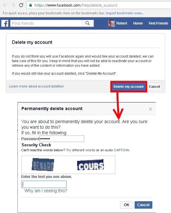 facebook account delete
