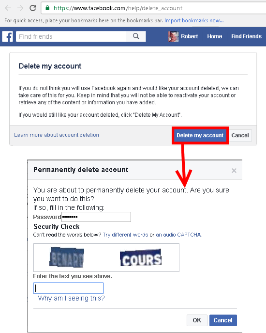 How to permanently delete a facebook account facebook account delete ccuart Images