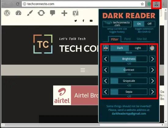 dark reader in action