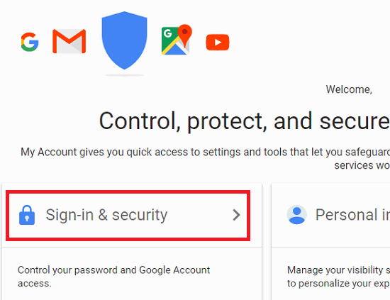 sign in & security gmail