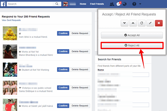 all facebook friend requests rejected
