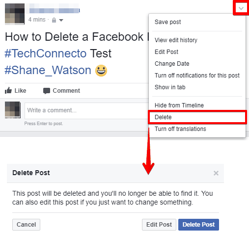 How to delete a facebook post on web delete a facebook post ccuart Images