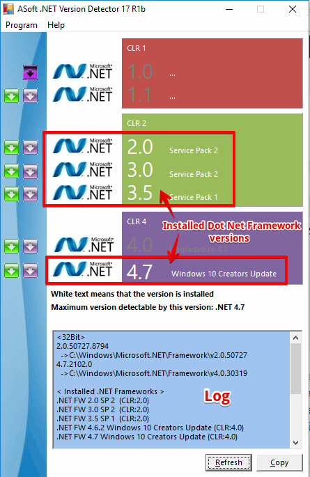 ASoft .NET Version Detector show installed dot net framework versions